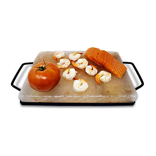 "Himalite Himalayan Pink Salt Block & Metal Tray Set 12"" x 8"" x 1.5"" for Cooking, Grilling, Cutting, and Serving with Himalayan Cooking Accessories"