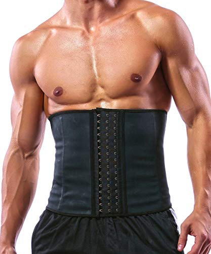GainKee Latex Men Waist Trainer Corsets with Steel Bone Sweat Sauna Suit for Fitness (XX-Large)
