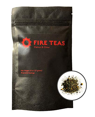 FIRE TEAS - DETOX & GLOW - Weight Loss & Ayurvedic Slim Diet Tea- Organic Turmeric, Ginger, White Tea (Bai Mudan), Cardamom, Cinnamon & Saffron- 10 Times More Anti Oxidants Than Green Tea- Made in WA