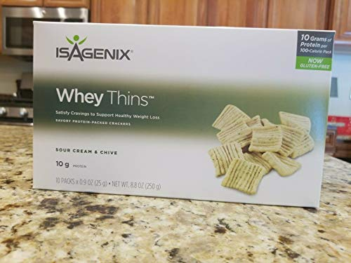 Isagenix Whey Thins 100 Calorie Packets (10 grams of Protein) (10 Packets) Sour Cream and Chive Flavor