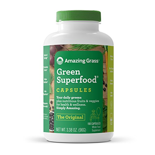 Amazing Grass Green Superfood Capsules: Super Greens with Spirulina, Chlorella, Digestive Enzymes & Probiotics, 150 Capsules