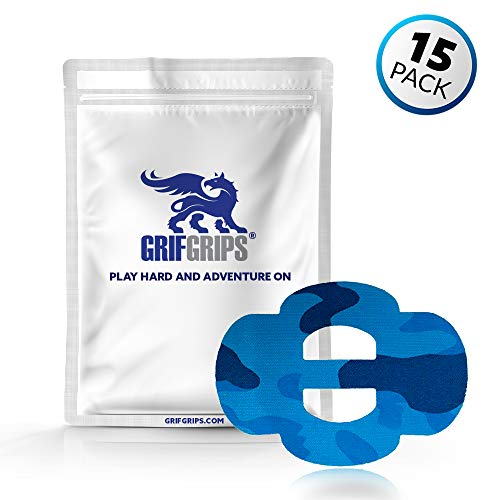 GrifGrips Wrap Grip Sports Adhesive Patch for Omnistrap - Pack of 15 (Blue Camo)