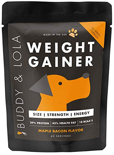 Buddy & Lola Weight Gainer for Dogs - Healthy Weight Gainer Supplement for Dogs - Muscle Builder, Injury Recovery, High Calorie Energy & Performance Supplement for All Breeds. Made in The USA