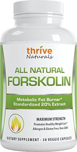 Thrive Naturals Forskolin Advanced * 100% Pure and Natural Forskohlii Extract * Promotes fat burning targeting belly fat * Helps improve metabolism * Helps support lean muscle, while burning stored fats in fatty cells * Promotes healthy weight loss for all body types * Vegetarian Capsules * No Synthetic Fillers or Binders * No Magnesium Stearate * No Gluten * Proudly Made in USA (1 Bottle)
