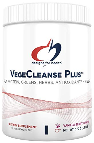 Designs for Health VegeCleanse Plus - Berry-Vanilla Pea Protein Detox with Vegetable + Fruit Blend, 17g Pea Protein (15 Servings / 570g)