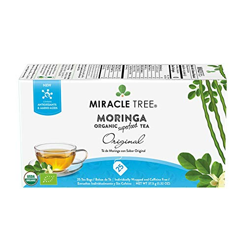 Miracle Tree - Organic Moringa Superfood Tea, 25 Individually Sealed Tea Bags, Original