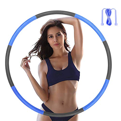 Hoola Hoops for Adults - Weighted Hoola Hoops With Jump Rope for Exercise - Hoola Hoop for Kids, 2lb Weighted Hoola Hoop, 8 Detachable Sections - Professional Hoola Hoops