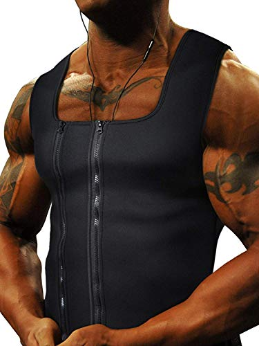 Goldenstarsport Neoprene Sweat Vest for Men Workout ~ Unique Two Zippers System - X-Large