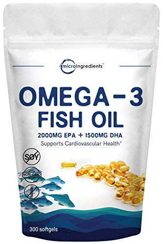 Triple Strength Omega-3 Fish Oil Supplement (Burpless), 3750mg Per Serving, 300 Softgels, EPA 2000mg, DHA 1500mg, Supports Cognitive Health, Cardiovascular Function & Immune System, Made in USA