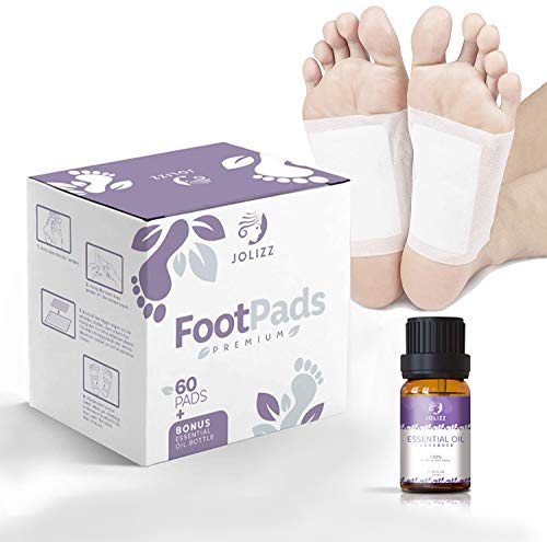 Jolizz Premium Foot Pads (60-Pack) & Bonus Lavender Essential Oil - Sleep Patches for Restful Night and Morning Energy - Easy Peel Overnight Sole Adhesive | Relieve Stress & Improve Sleep