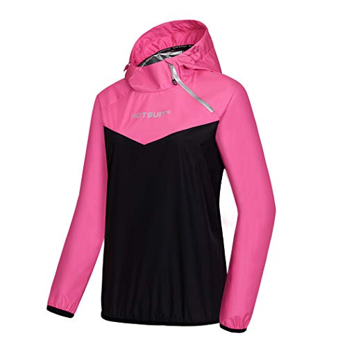 HOTSUIT Sauna Sweat Jacket Women Weight Loss Jacket Workout Gym Exercise, Rose Red, XL