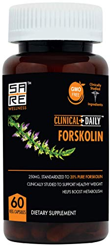 Natural Forskolin Extract. 60 Vegan Capsules with 250mg Pure Coleus Forskohlii Supplement. Weight Loss Diet Pills. Fast Fat Burner and Carb Blocker for Women and Men. Great for Keto. Clinical Daily