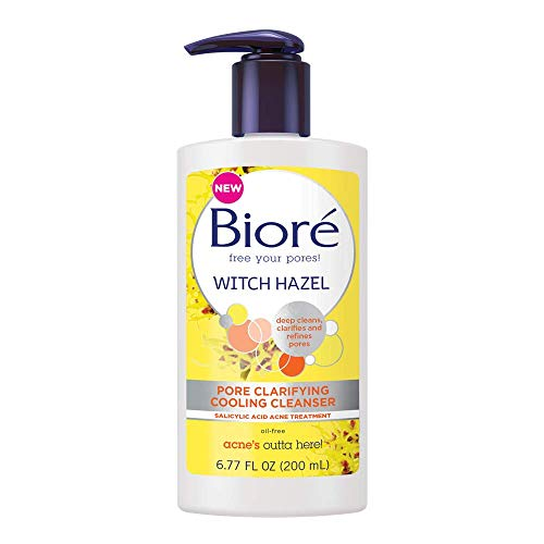 Bioré Witch Hazel Pore Clarifying Cleanser, 6.77 Ounce Daily Refreshing and Cooling Wash, features 2% Salicylic Acid, for Acne Prone Skin