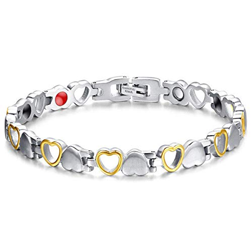 Magnetic Healing Bracelet Heart Pattern Bangle Arthritis Pain Relief Weight Loss Women Men Gold and Silver
