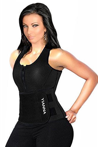 YIANNA Sweat Neoprene Sauna Suit - Waist Training Vest - Sauna Tank Top Vest with Adjustable Waist Trimmer/Shaper Trainer Belt for Weight Loss Plus Size Up to 5XL, YA8012-Black-XL