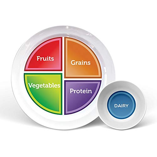 "Health Beet Portion Control Plate - Choose MyPlate for Teens and Adults, Nutrition Plate and Dairy Bowl with Food group Sections, 10"" - English Language (1 Plate, 1 Bowl)"