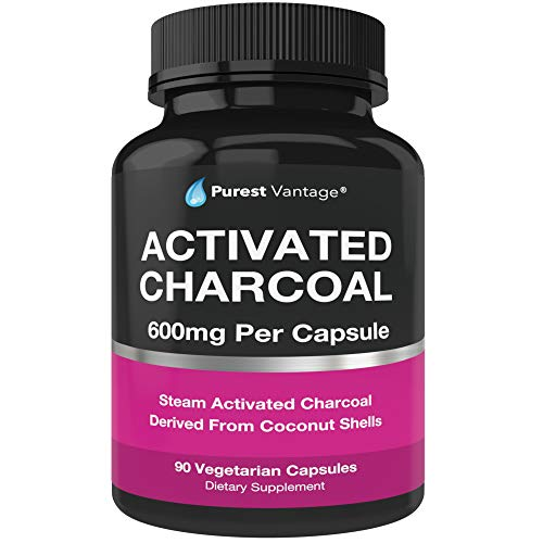 Pure Organic Activated Charcoal Capsules - 600mg per Capsule, 90 Veggie Cap Pills Used for Gas, Bloating, Teeth Whitening and More