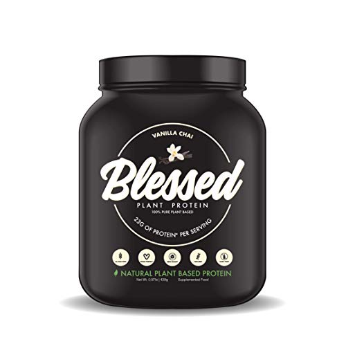 BLESSED Plant Based Protein Powder – 23 Grams, All Natural Vegan Protein, 1 Pound, 15 Servings (Vanilla Chai)