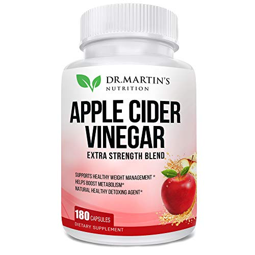 Pure 1950mg Apple Cider Vinegar 180 Capsules Supplement Extra Strength 1950mg. Healthy Weight Loss, Boosts Metabolism, Natural Detox, Pleasant Taste.
