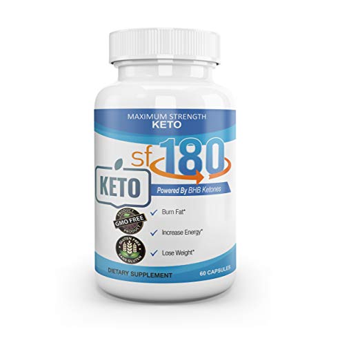Premium sf180 Keto - Maximum Strength Powered by BHB Ketones - Burn Fat for Energy - Best Ketosis Solution for Both Women and Men - GMO and Gluten Free - 60 Capsules