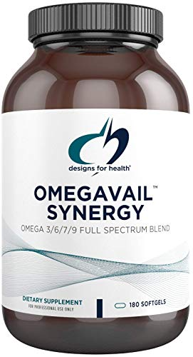 Designs for Health OmegAvail Synergy - Omega 3-6-7-9 Fatty Acids + Triglyceride (Tg) Fish Oil Capsules (180 Softgels)