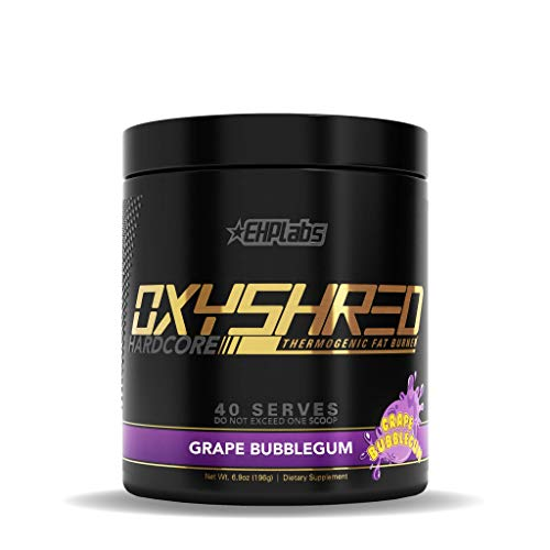 EHPlabs OxyShred Hardcore Thermogenic Fat Burner (Energy and Focus) - 40 Servings, Grape Bubblegum