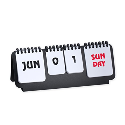 Marketing Innovations Intl Classic Office Studio Home Flip Chart Perpetual Calendar Simple Multifunction Wirebound Countdown Desk Accessory Black/White Color