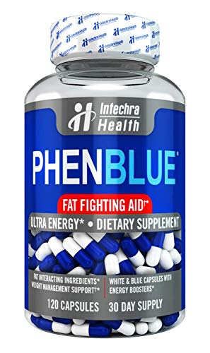 PHENBLUE Ultra Fat-Fighting Support with Energy Boost 120 White Blue Capsules - Premium Diet Pills