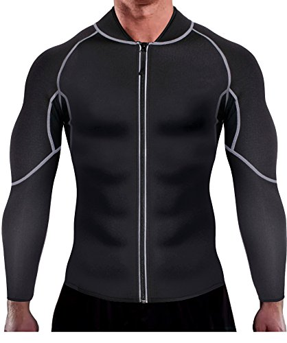 Ursexyly Men Exercise Sweat Hot Dress Shirt, Sauna Suit Neoprene Slimming Fitness Jacket Gym Wear for Core Muscle Training (Black Exercise Shirt, 2XL)