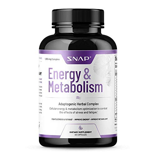 Metabolism Booster by Snap Supplements - Natural Energy Booster - Supports Weight Control, Reduce Belly Fat, Stress Relief - L-arginine Herbs, Cordyceps, Maca Root, Suma Root - 60 Capsules