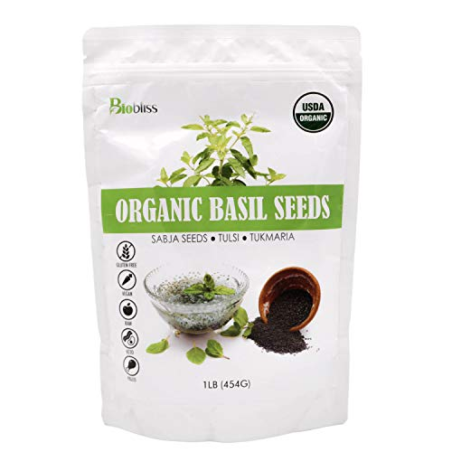 Biobliss Organic Basil Seeds 16 oz - USDA Organic - Edible Thai Basil Seeds - Basil Seed Drink in 15 Minutes - Premium Quality - Vegan - Keto-Friendly