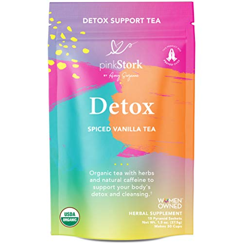 Pink Stork Detox Tea: Spicy Vanilla, USDA Organic, Supports Detoxification + Cleansing with Green Tea + Burdock, Women's Weight Loss Tea, Women-Owned, 30 Cups