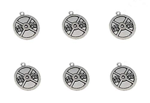 20pcs Weight Plate Discus Weightlifting Gym Exercise Sports Charm Pendant for DIY Bracelet Necklace Jewelry Making Findings(Antique Silver Tone)
