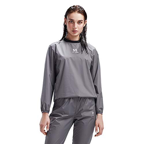 HOTSUIT Sauna Suit Women Weight Loss Gym Workout Tracksuit Sweat Suits, Grey, XXL