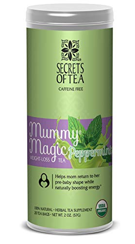 Mummy Magic Weight Loss Peppermint USDA Organic Postpartum Tea for Metabolism Boosting & Body Detoxification, Maternity Tea is Our Specialty 20 Tea Bags for 40 Servings