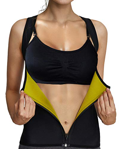 IFLOVE Women's Body Shaper Waist Trainer Sauna Vest with Zipper Hot Sweat Slimming Vest Shapewear for Tummy Fat Burner Weight Loss Thermal Shirt XL