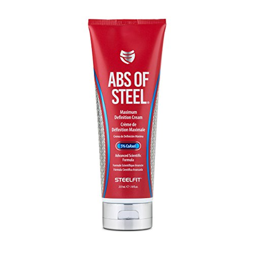 SteelFit Abs of Steel - Maximum Definition Cream - 5% CoAxel - Topical Cream - Workout Enhancer - Skin Firming, Toning, Definition - Fat Loss - Clinically Dosed Ingredient - Unisex - 8 fl. oz. (237ml)