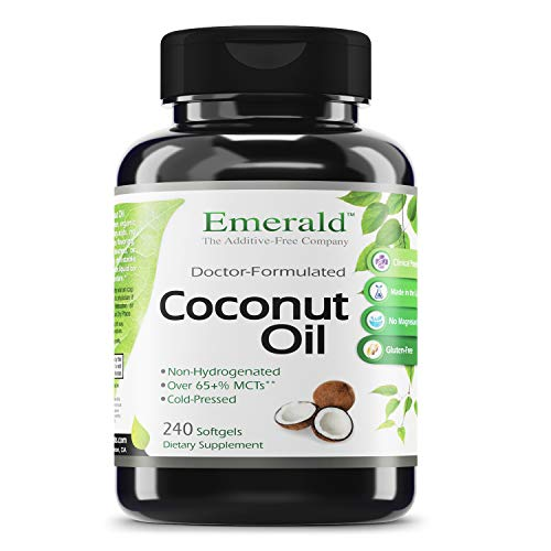 Emerald Labs Coconut Oil - 100% Pure Extra Virgin Coconut Oil - Supports The Immune System, Brain Health, and Weight Loss Support - 240 Softgels