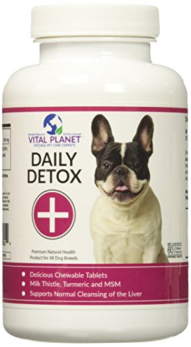 Vital Planet Daily Detox for Dogs - Natural Liver and Kidney Support for Dogs - 60 Chewable Tablets