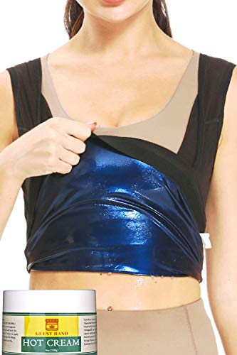 GUEST HAND Women Sweat Tank Top Sauna Vest Compression Outfit Waist Trainer Fat Trimmer for Home Outdoor Belly Stomach Back -M/L Black