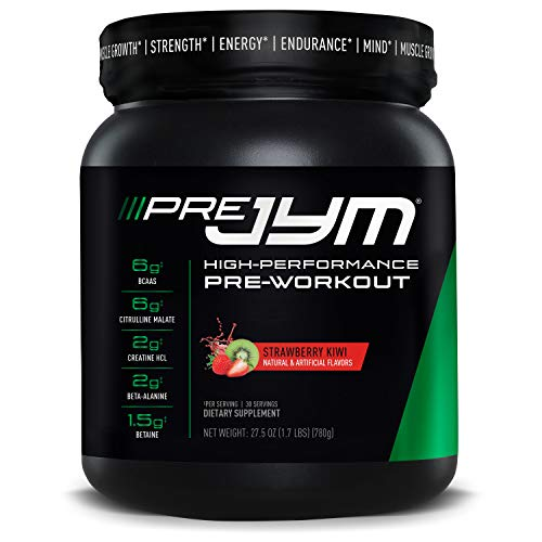 Pre JYM Pre Workout Powder - BCAAs, Creatine HCI, Citrulline Malate, Beta-Alanine, Betaine, and More | JYM Supplement Science | Strawberry Kiwi Flavor, 30 Servings