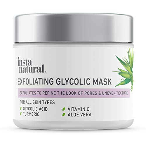Exfoliating Glycolic Face Mask & Scrub - Anti Aging, Acne & Blackhead Treatment for Brightening and Exfoliation with Turmeric & Vitamin C - Natural AHA Enzyme Exfoliant for Scars & Glowing Skin