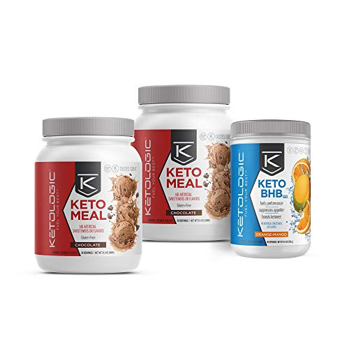 KetoLogic Keto 30 Challenge Bundle: Tim Tebow Approved | 30-Day Supply Keto Meal Replacement Shakes with MCT & BHB Exogenous Ketones Powder | Kickstarts Your Ketogenic Diet | Chocolate & Orange Mango