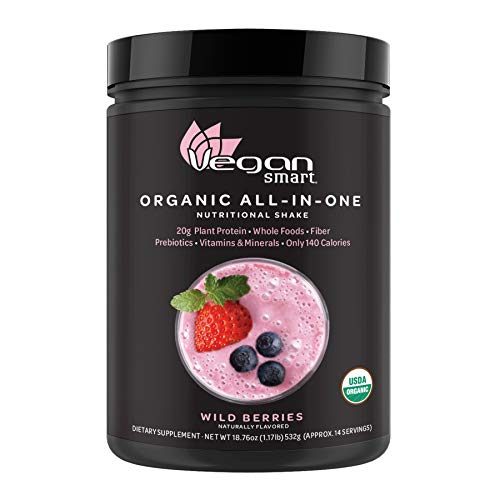 Vegansmart Plant Based Organic Protein Powder by Naturade, All-in-One Nutritional Shake - Wild Berries (14 Servings)