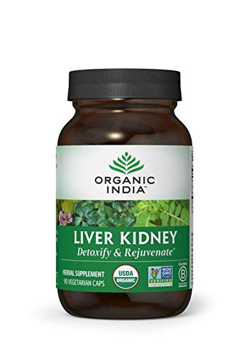 Organic India Liver Kidney Supplement, Natural Herbal Supplement, 90 Veg Caps