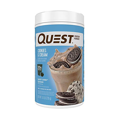 Quest Nutrition Cookies & Cream Protein Powder, High Protein, Low Carb, Gluten Free, Soy Free, 25.6 Ounce (Pack of 1)