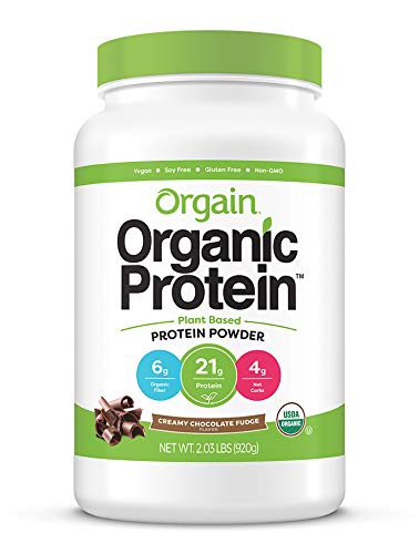 Orgain Organic Plant Based Protein Powder, Creamy Chocolate Fudge - Vegan, Low Net Carbs, Non Dairy, Gluten Free, Lactose Free, No Sugar Added, Soy Free, Kosher, 2.03 Pound (Packaging May Vary)