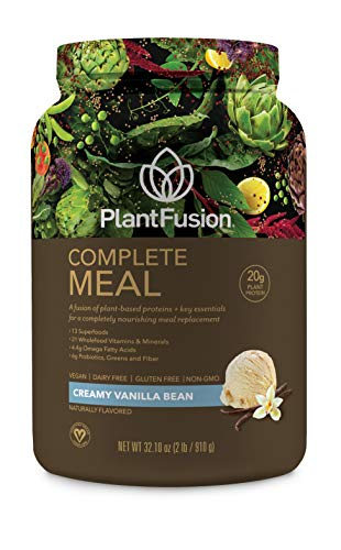 PlantFusion Complete Meal All Plant Based Pea Protein Powder   Meal Replacement Shake   Dietary Supplement   Nutritional Drink   Vegan, Gluten Free, Non-Dairy, No Sugar, Non-GMO Vanilla, 2 LB