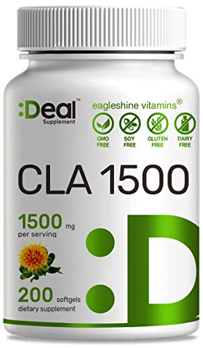 Deal Supplement CLA 1500mg Per Serving, 200 Softgels, Super Extra Strength 95% Conjugated Linoleic Acid from Safflower Oil, Manage Weight and Lean Muscle