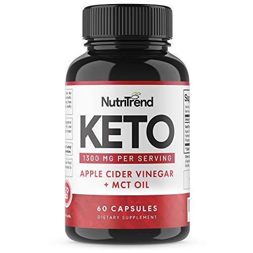 Keto Pills with Apple Cider Vinegar & MCT Oil, BHB Weight Loss Supplement, Detox Support and Immune Health, Manage Cravings & Improve Focus, Boost Energy & Metabolism - 30 Day Supply by NutriTrend